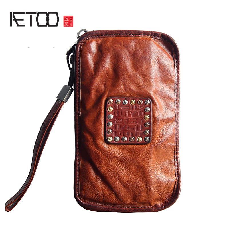 AETOO Men 's long wallet is the brand of the first layer of leather hand bag leather zipper handbag large - capacity hand Vintag 2017 hot high quality brand baotou layer of cow leather bags the new ms tassel handbag is a 100% leather handbag