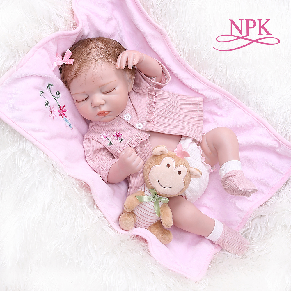 NPK 48CM newborn bebe realistic reborn soft full body slicone lifelike sleeping baby Anatomically Correct