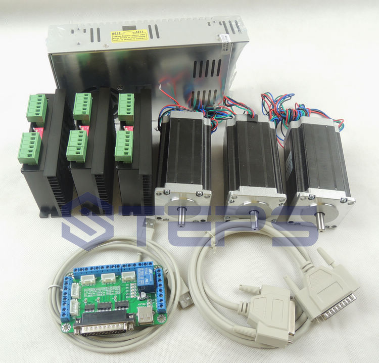 CNC mach3 3 Axis kit, 3pcs TB6600 driver +one breakout board + 3pcs Nema23 425 Oz-in stepper motor + 350W power supply#ST-4045 цена