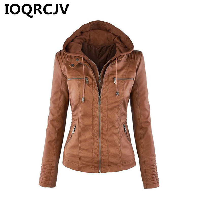 2019 Autumn Women Faux   Leather   Jackets Zipper Basic Coat Motorcycle Jacket Coat Detachable Hooded Outerwear Large Size 7XL R526