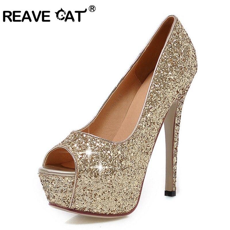 REAVE CAT Sexy Super high heel Glitter Peep toe Women pumps New arrive Ladies prom shoes