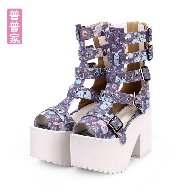 цена на Princess sweet lolita shoes Summer Gothic punk style original super high heel zipper thick bottom muffin shoes women pu8975