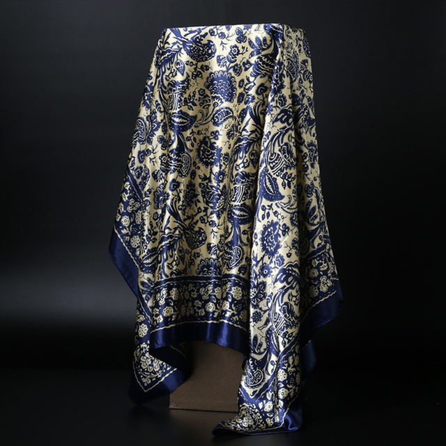 Fashion Scarves for Women Print Satin Silk Scarf Female 90x90cm Square Shawl Bandana for Head Large Hijab Scarfs For Ladies 2019