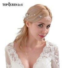TOPQUEEN HP24 свадебные гребни Свадебные аксессуары Элегантные волосы лозы золотой свадебный двойной гребень для волос с кристаллами бисером головные уборы