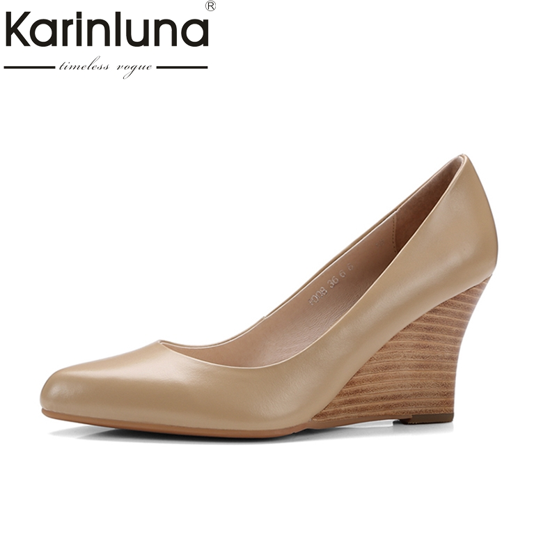 KARINLUNA high quality cow leather size 34-39 wedge high heel black shoes women shoes pointed toe office pumps woman shoes nayiduyun women genuine leather wedge high heel pumps platform creepers round toe slip on casual shoes boots wedge sneakers