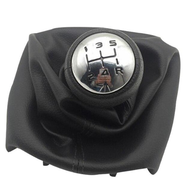 Perilla de cambio de velocidad de 5 velocidades con collares palanca de cambio de cambios cubierta antipolvo para Peugeot 307