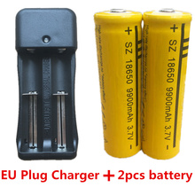 Дин ли shijia 18650 3,7 V 9900 mAh литий-ионная аккумуляторная батарея для фонарика Батарея + ЕС Plug Dual Батарея Зарядное устройство