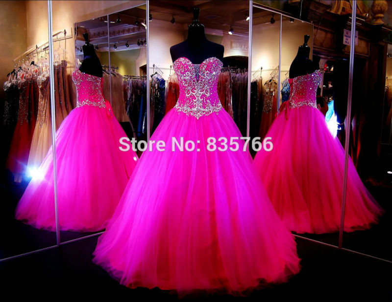 Pretty Beading Crystal Sweetheart Ball Gown Prom debutante gowns ...