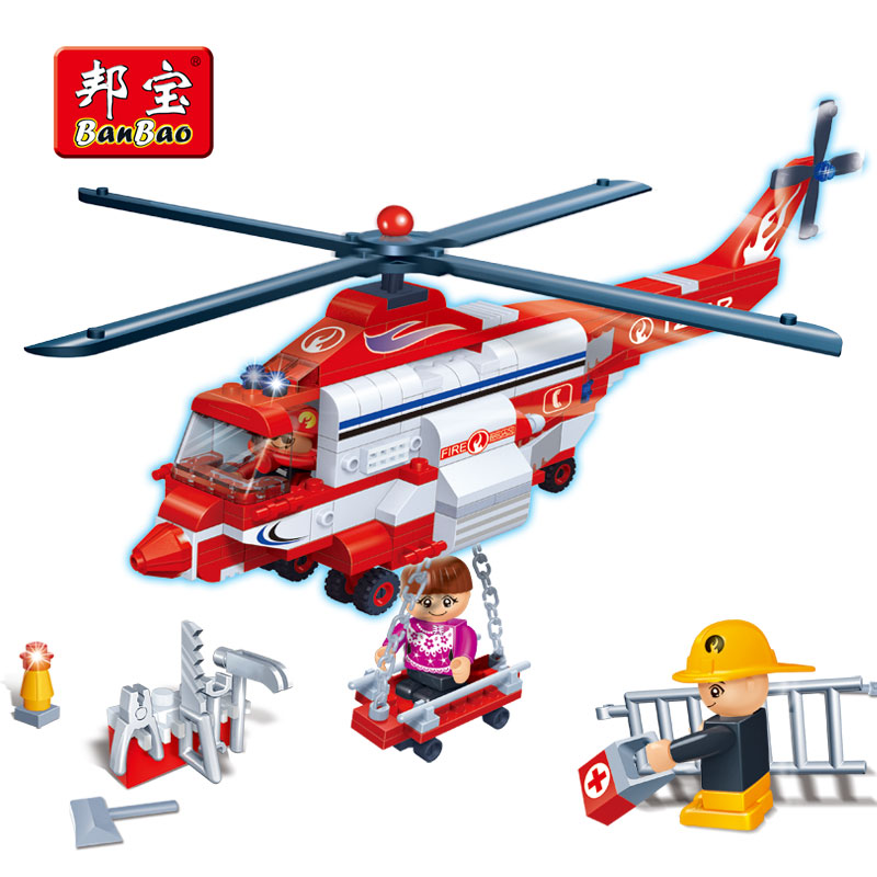 83pcs Firefighting Fire Helicopter Car Fireman Diy Building Blocks Compatible City Educational Brick Toys For Children Blocks