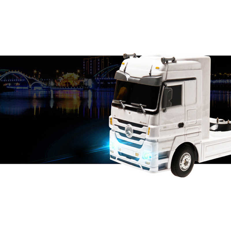 RC camión Semi remolque largo vehículo + buldózer con control remoto plataforma remolque Auto placa trasera electrónica camión modelo Hobby