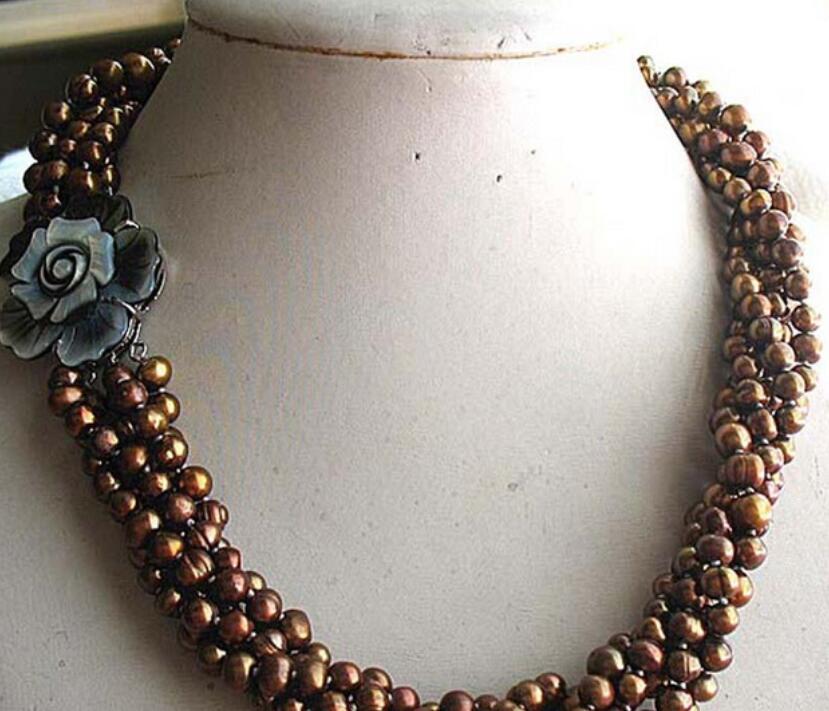 Populaire 5 rangées d'eau douce perle café rond 5-7mm collier 17