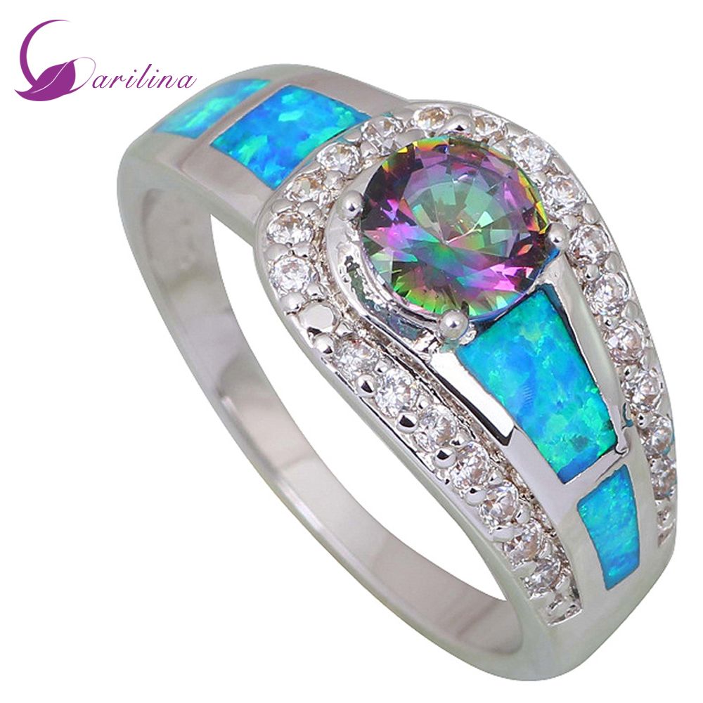 Mode smycken Pink Rainbow Mystic Cubic Zirconia 925 Sterling Silver Filled Wedding Party Blue opal ring för kvinnor R409