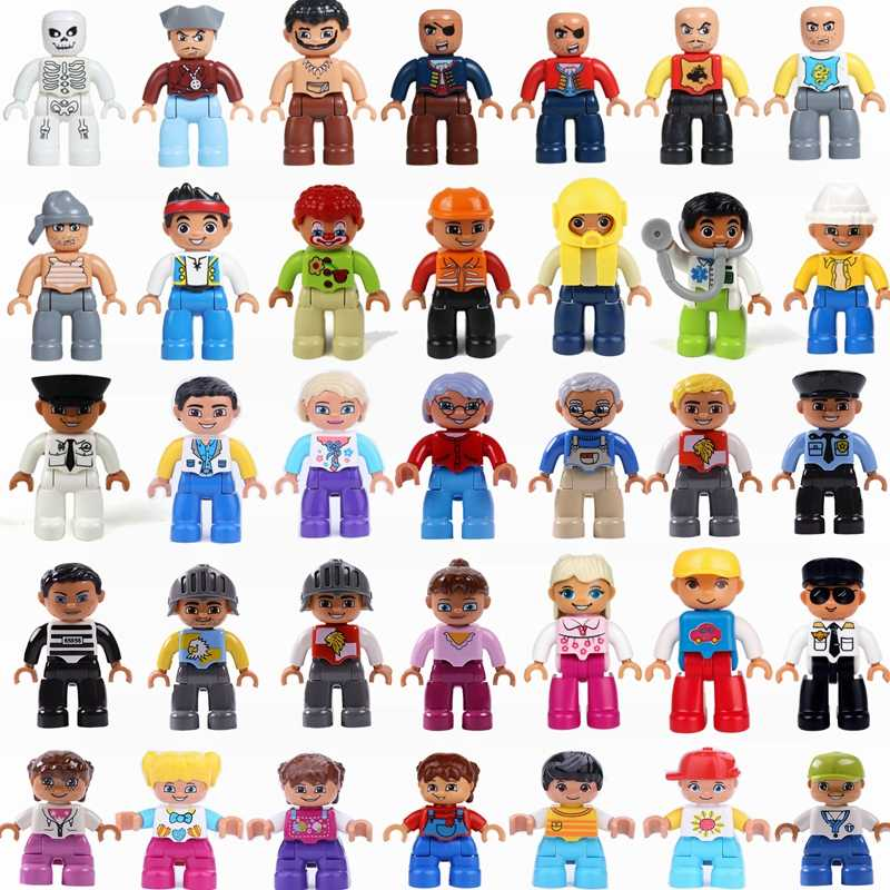 Legoing Duplo Figures Doctor Baby Robber Policeman Mom Big Size Building Blocks Toys for Children Compatible Duplo Figure