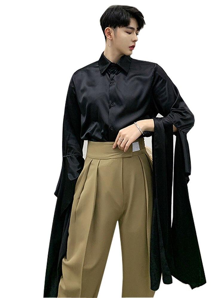 440079170b3 Шоу на сцене Костюмы Для мужчин Уличная мода Slim Fit с длинным бантом ленты  рукав рубашка