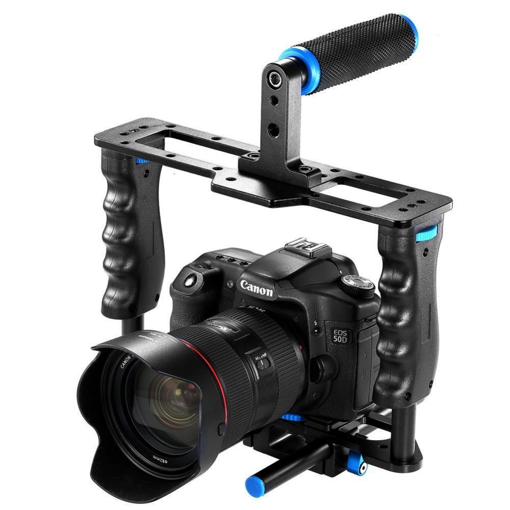 Professional Aluminum Alloy DSLR Camera Cage SLR Video CageKit with Top Hand Grip Level handheld handle for Canon 5D mark II/III aluminum dslr camera cage kit support for canon 5d mark ii 7d 60d 15mm rod rig