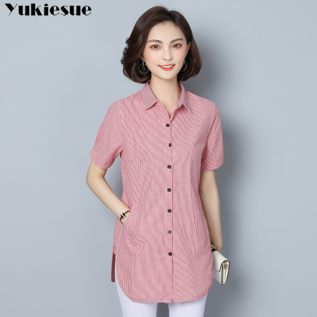 women's blouse shirt fashion woman blouses 2019 short sleeve striped womens clothing tops and blouses ladies tops Plus size 5xl 3