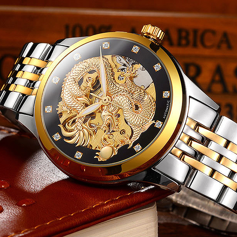 2018 Business Mechanical Watches Mens Skeleton Tourbillon Automatic Watch Men Gold Stainless Steel Waterproof Relojes Hombre цена