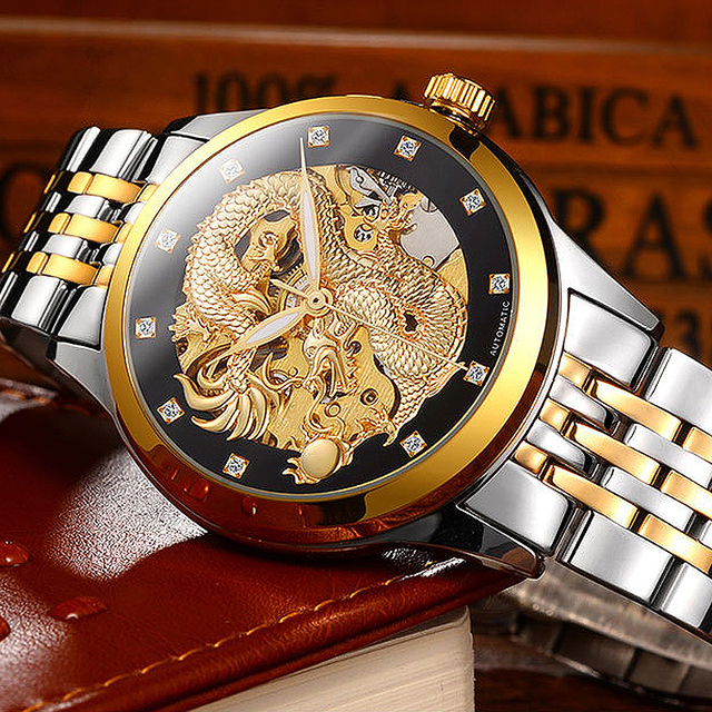 2018 Business Mechanical Watches Mens Skeleton Tourbillon Automatic Watch Men Go