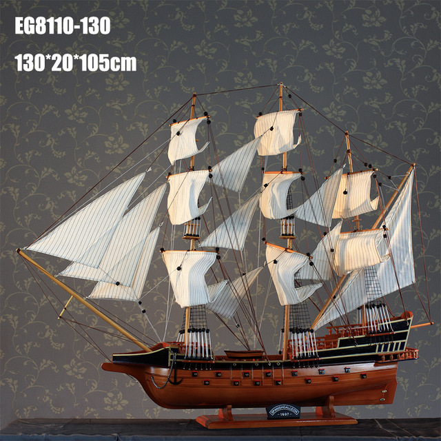 """1pcs manual 50"""" giant wooden sailing boat model for decoration and collection in wooden box via EMS shipping."""