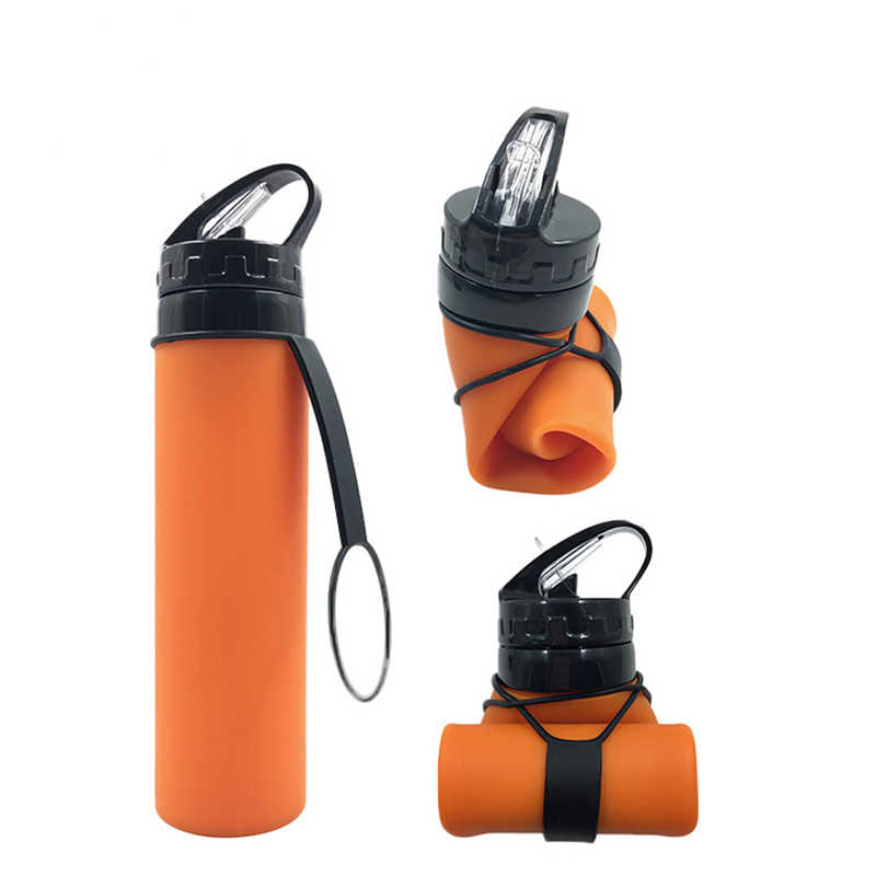 Kreatif Lipat Fashion Botol Air Anti Bocor Botol Air Portabel Indoor Perjalanan Hiking Kantor Camping Ketel Anak 600ML