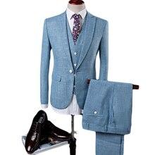 Fire Kirin Linen Suits Men 2017 Slim Fit 3 Piece Wedding Suits For Men Beige Blue Tuxedo Jacket Brand Mens Formal Suit Q342