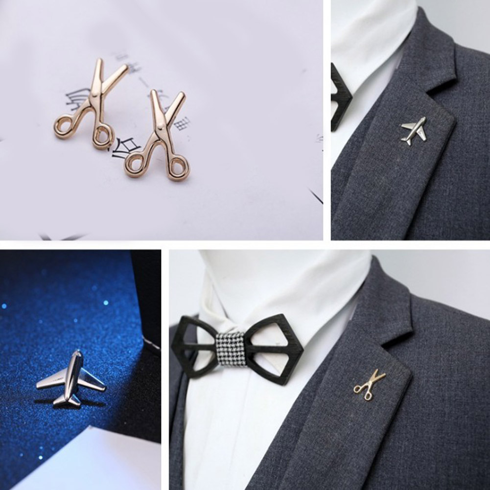 Vintage Simple Alloy DIY Leaf Plane Brooch Breastpin Gold Silver Men's Collar Lapel Pins Suit Accessories Jewelry For Women Gift 3