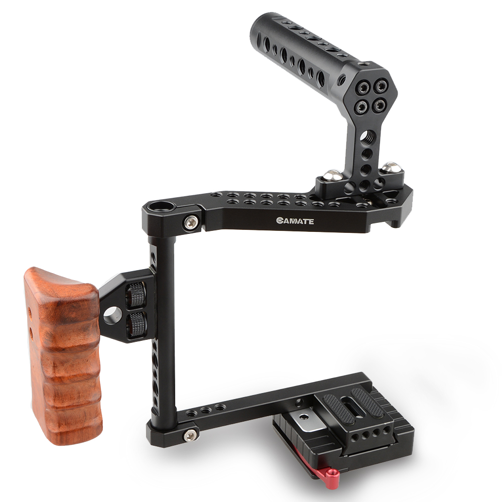CAMVATE DSLR Camera Cage with Top Handle Wooden Grip for Canon 70D Panasonnic GH5 camvate wooden camera handle dslr handgrip fr dv video cage rig right