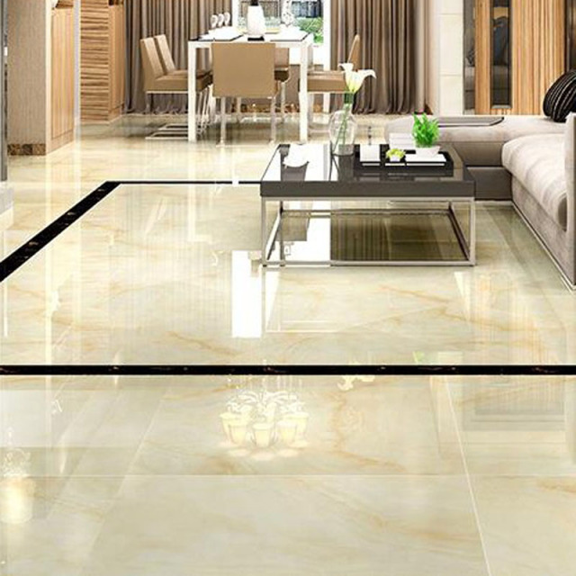 High Glossy Ceramic Tiles Microcrystalline Stone Floor Tile Living Room TV Background Wall European Style