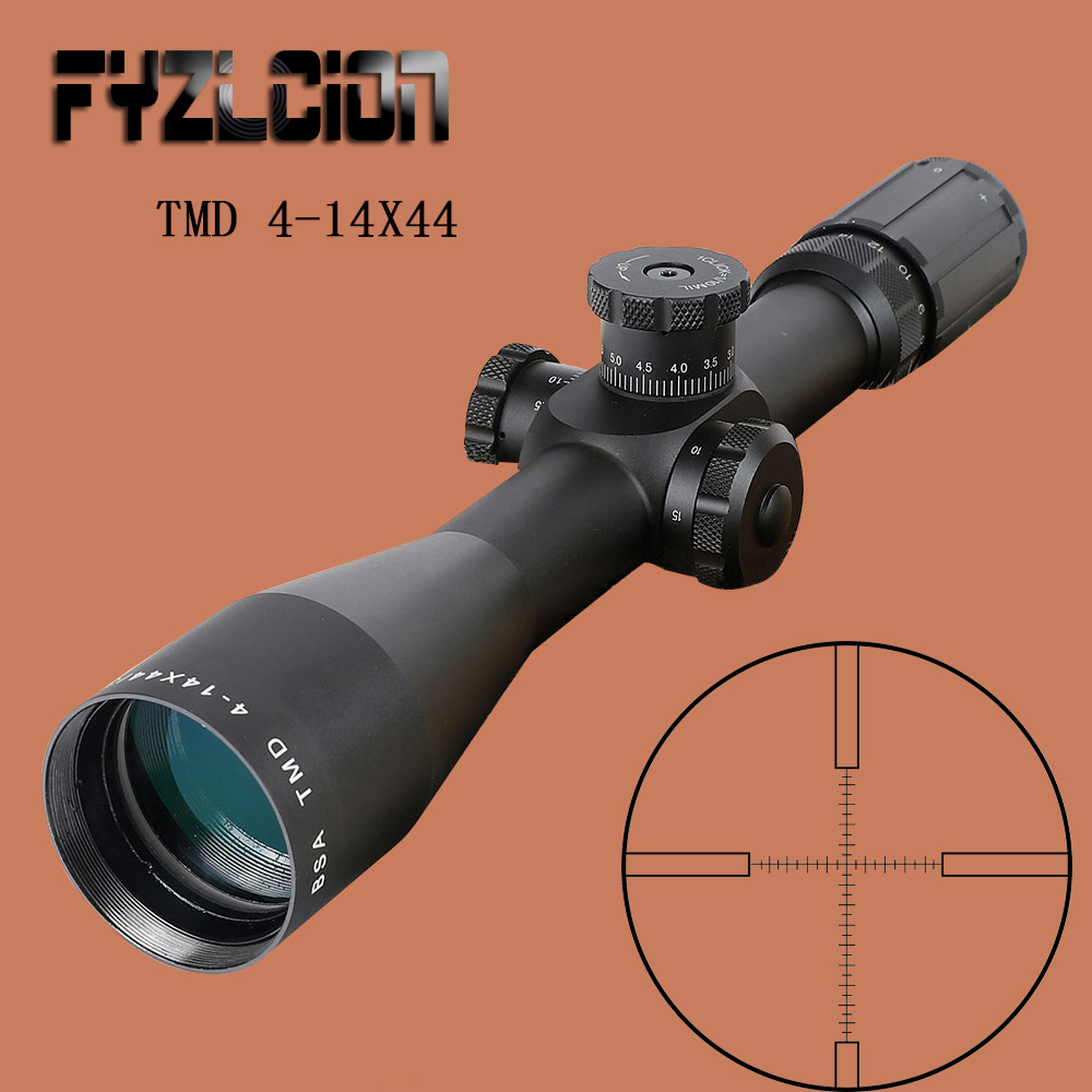 NEW TMD 4-14X44 FFP Hunting Riflescope First Focal Plane Glass Mil Dot Reticle Tactical Optics Sight Side Parallax Rifle Scope joufou 4 16x40aol tactical rifle scope optical sights full size mil dot rgb llluminate wire reticle hunting riflescope for rifle