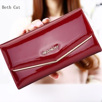 Beth Cat Wallet Female Fashion Solid Women Wallets Genuine Leather Long Hasp Womens Wallets And Purses