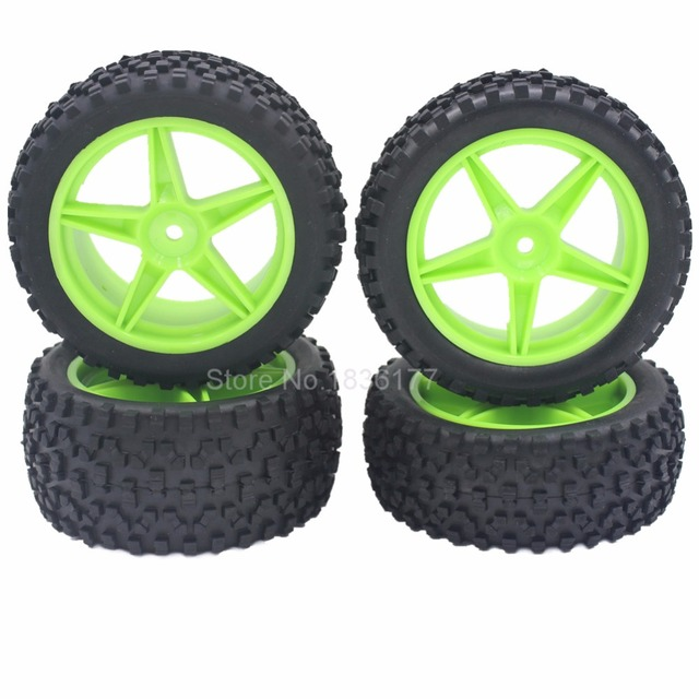 4pcs RC 1/10 Buggy Wheels & Tires 12mm Hex For RC Off Road Car HSP HPI Tyre