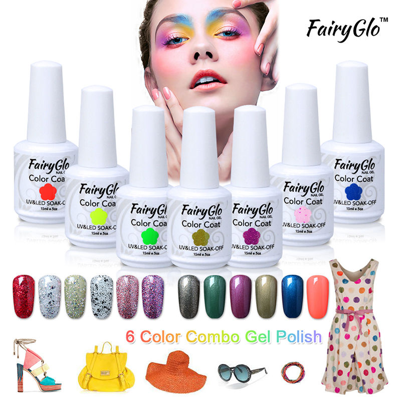 FairyGlo Nail Gel Polish Set White Bottle 15ML Nude Color 001-020 Gel Varnish Kits Soak off Nail Art Lacquer Manicure Tool 6pcs