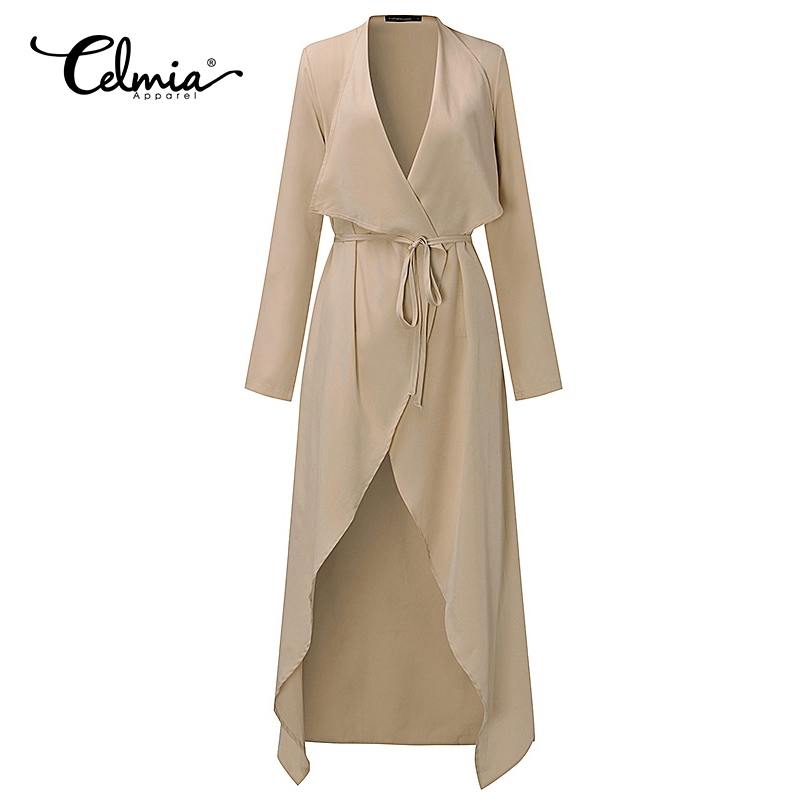 CELMIA Women Jackets Long Waterfall Long Sleeve Slim Fit Thin Belted Cardigan Duster Coat Overalls Outwear Ladies Tops Feminina