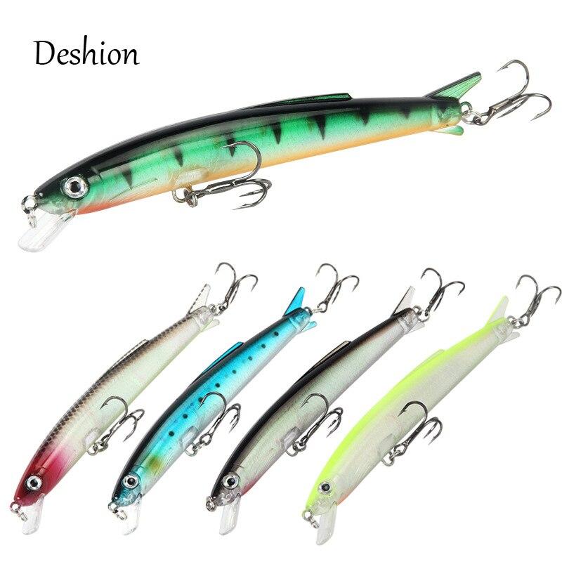 Deshion Topwater Minnow Lure 1PC Fishing 13g 110mm Hard Bait Floating Baits Wobblers