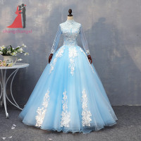 Hot Sale High Neck Quinceanera Dresses 2018 Long Sleeve Light Blue Ball Gown Long Prom Gown