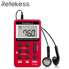 RETEKESS V112 FM AM 2 Band Radio Mini Receiver Portable Digital Tuning Radio Receiver With Rechargeable Battery & Earphone
