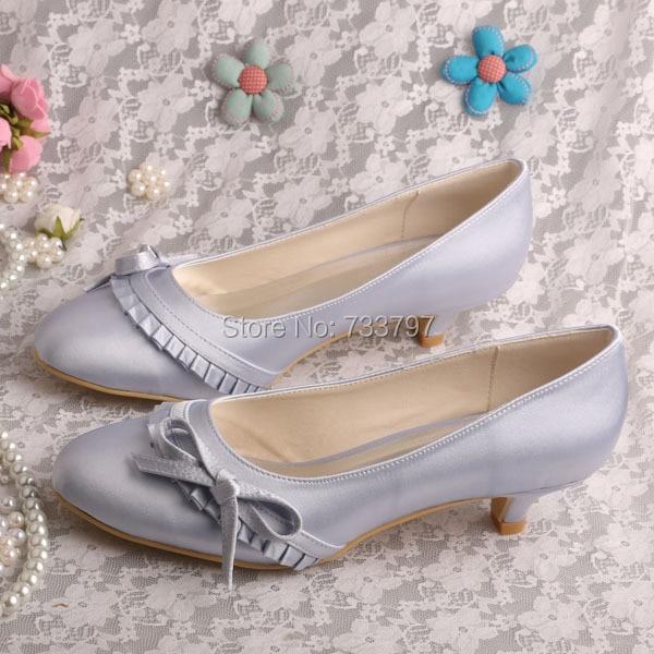 ФОТО Wedopus New Arrival Low Heels4CM Wedding Shoes Bridesmaid Silver Satin