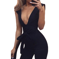 New Arrivals 2017 Black Deep V Fitted Sexy Bodycon Jumpsuit Nightclub For Women Romper Blue Burgunday