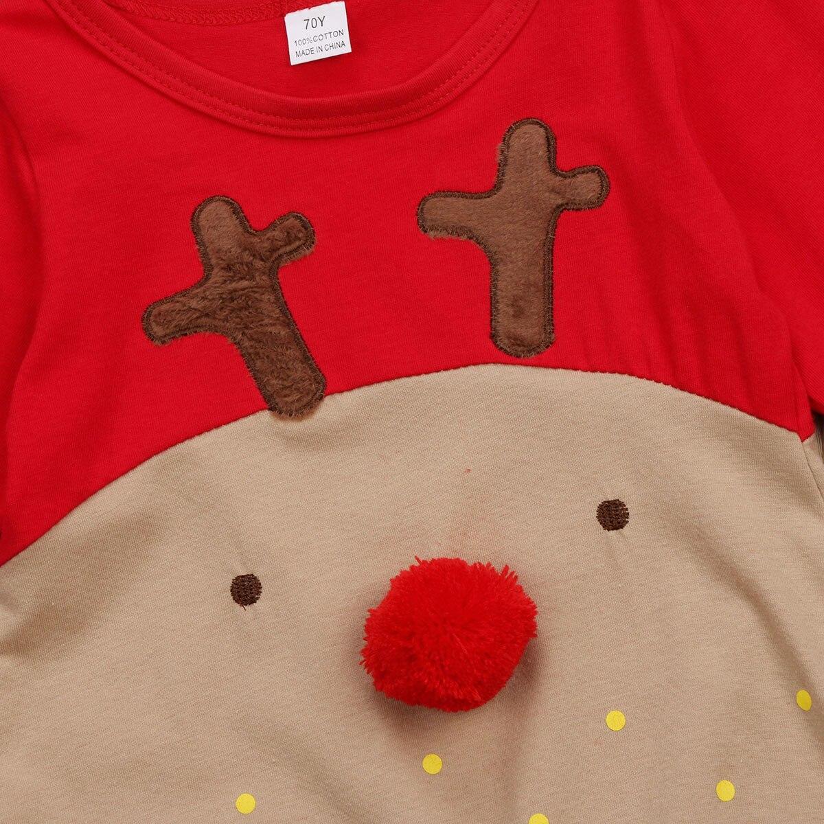 2Pcs Newborn Baby Boys Girl Christmas Rompers Long Sleeve Deer Romper Jumpsuit Hat Sleepwear Party Costume Baby Clothes