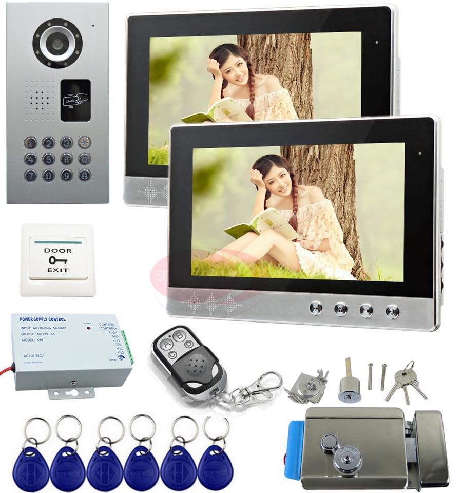 RFID Video Intercom With Electric Lock 2 Wired Video Door 10 Screens Home Video Intercom IP65 Waterproof Video Phone Intercom экран elite screens electric 100h electric100h