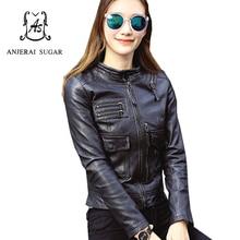Spring sheepskin genuine leather jacket women black colour Mandarin Collar motorcycle female Pockets design short leather Jacket