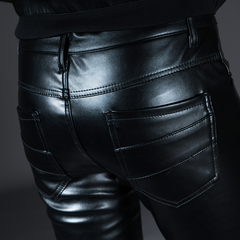 New Winter Spring Men's Skinny Leather Pants Fashion Faux Leather Trousers For Male Trouser Stage Club Wear Biker Pants