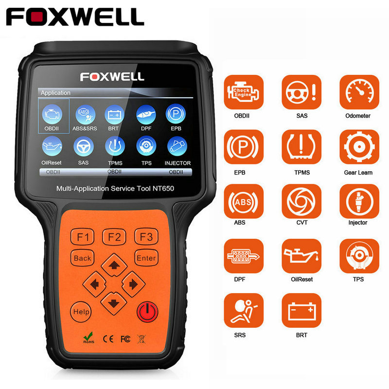 Foxwel NT650 OBD2 Code Reader Scanner Engine ABS Airbag EPB Oil TPMS 13 Reset OBD 2
