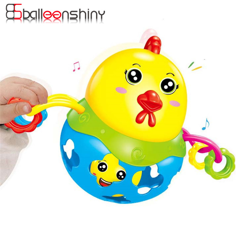 Rattles Handbell Baby Toy Chicken Musical Instrument Rhythm Shaking Chicken Jingle Bell for Kid Education Musical Random Color