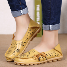 Women Flats Genuine Leather Shoes Slip On Loafers