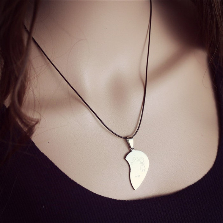 2015-New-Jewelry-Couple-Broken-Heart-choker-Necklaces-Black-Cord-Necklace-Stainless-Steel-Engrave-Love-You (5)
