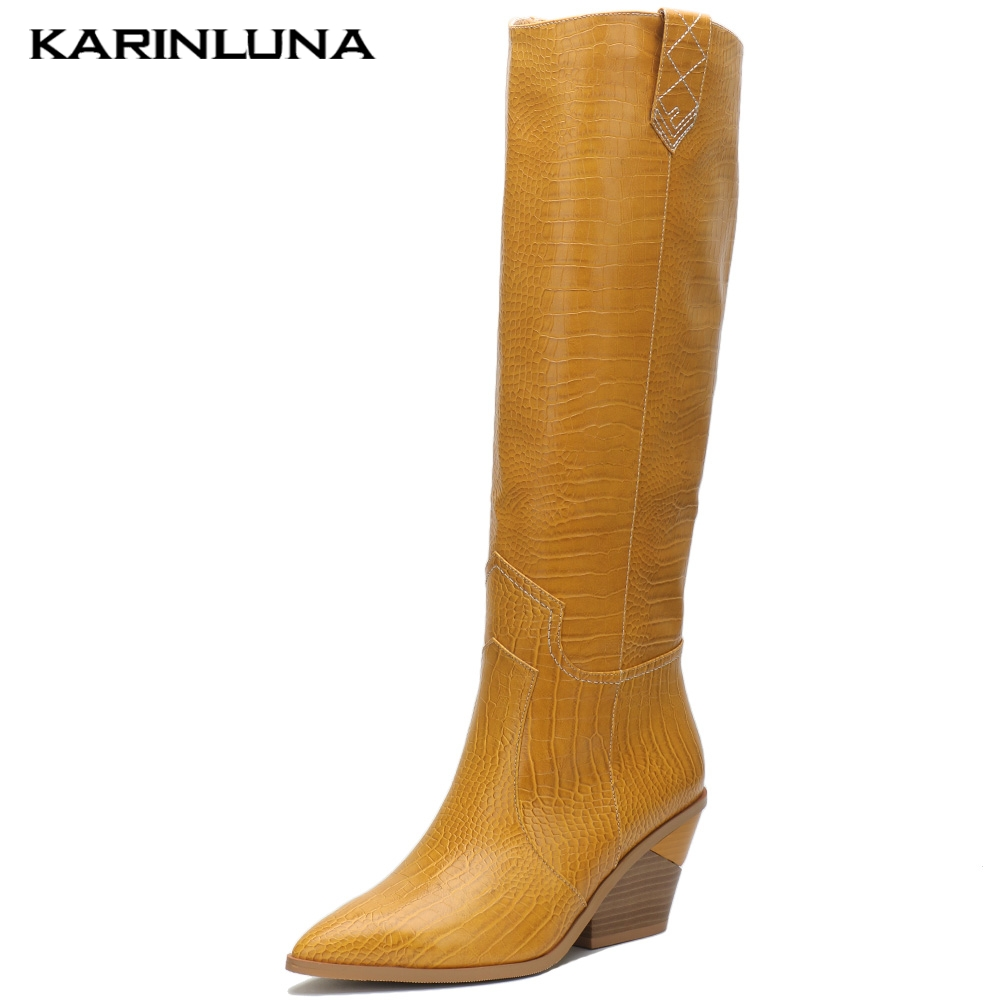 2019 plus Size 33-46 Fashion comfortable chunky Heels knee high Boots Women Shoes Western boots Shoes Woman2019 plus Size 33-46 Fashion comfortable chunky Heels knee high Boots Women Shoes Western boots Shoes Woman