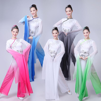 a484770d6583d Nuevos trajes de baile clásico de danza popular china para mujeres ropa de  actuación de manga de agua para niñas trajes de baile de Yangko de manga  larga