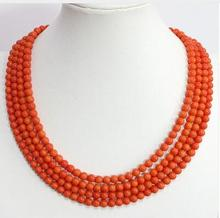 for Women jewelry choker anime gem Special pink orange 4 rows 6mm round beads coral chain high grade necklace fast shipping stunning 8rows 6mm round crude pink coral necklace g165