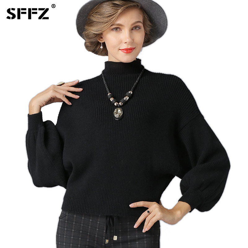 SFFZ NEW Christmas Women Fashion Sweaters Thick Casual Solid Black Jumper Lady Pullover Winter Clothes Woman Knitted Sweater